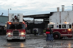 1.19.11..Patricia Hildenbrand Photo..Firefighters work to put out a blaze that damaged the main warehouse of the Black Gold Potato Farm in Rhodesdale. Fourteen fire companies and one hundred firefighters responded to the three-alarm fire.  No injuries have been reported and the cause of the fire is still under investigation.
